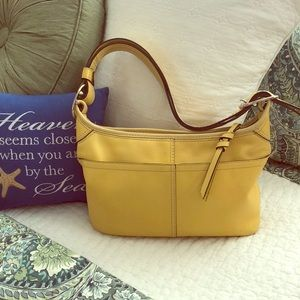 🌞Sunny Golden Yellow Leather Coach Handbag
